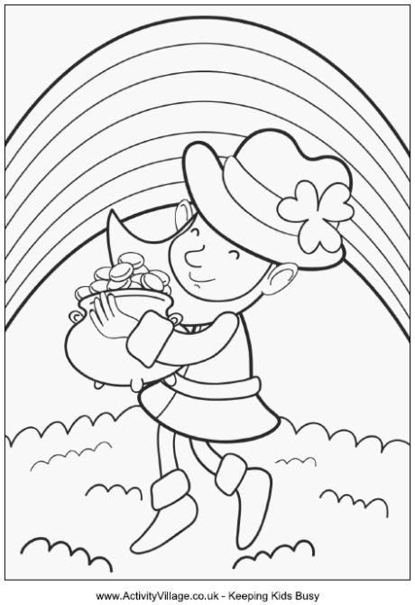 Leprechaun With Pot Of Gold Colouring Page Coloring Pages