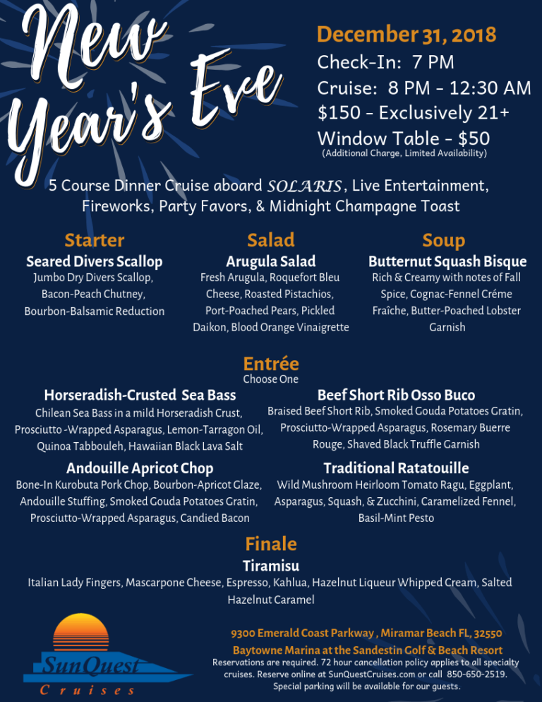 Tuesday, December 31, 2019 5 course meal, New years eve