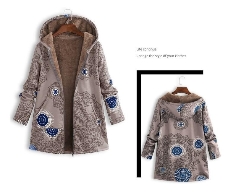 Casual Outwear Winter Warm Floral Coat 9
