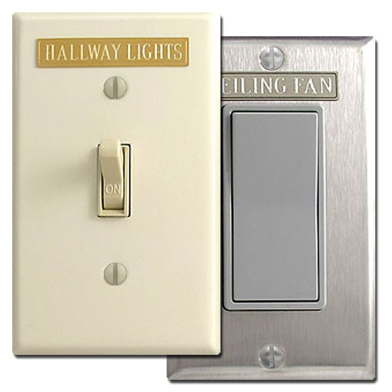 Short Engraved Light Switch Wall Plate Name Tags Adhesive Back Plates On Wall Light Switch Light Switch Covers