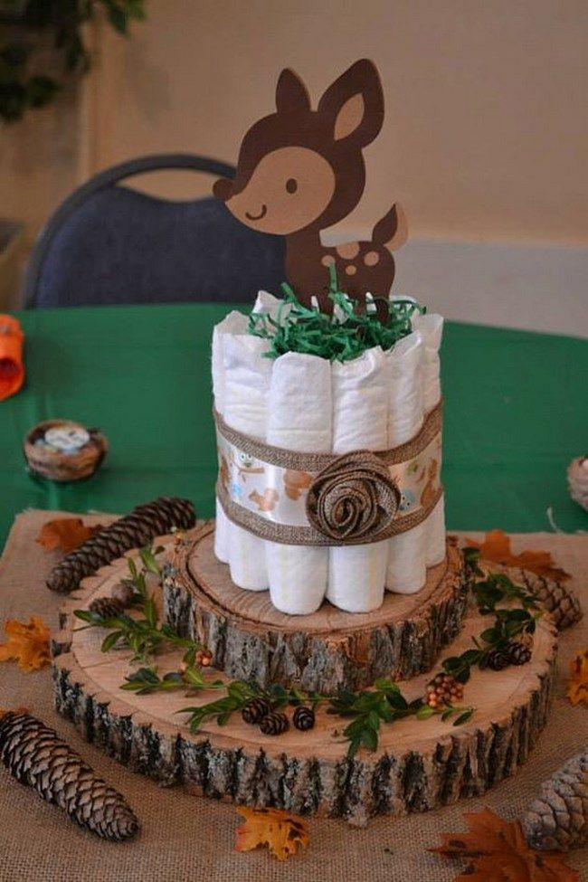 Centros de mesa para baby shower de animales Woodland Creatures - centros de mesa para baby shower
