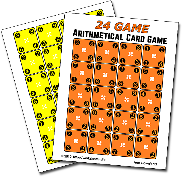 24 Game. Free Printable Game Cards. Arithmetical Card Game ...