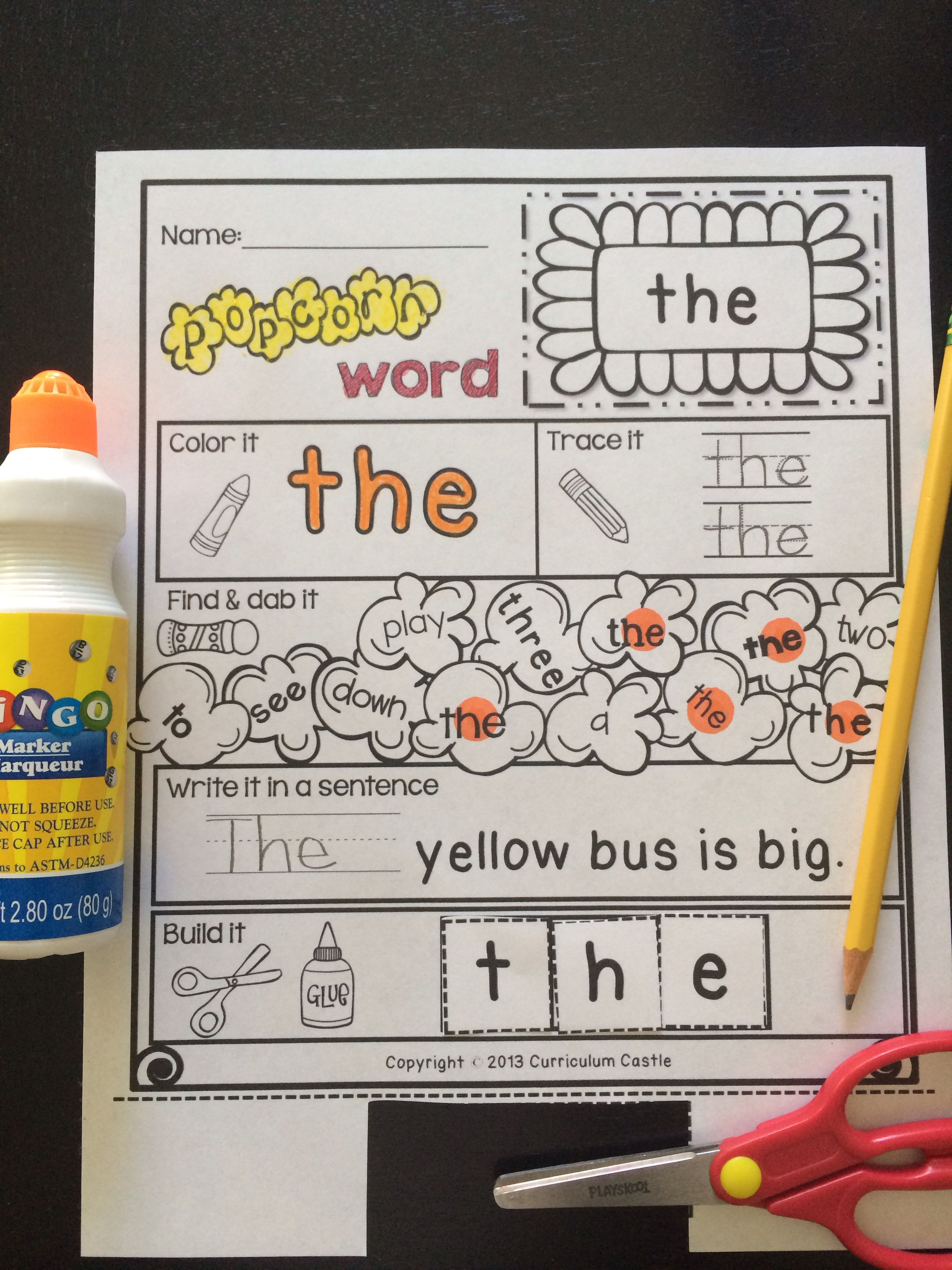 Kindergarten Pre Primer Sight Words Popcorn Theme