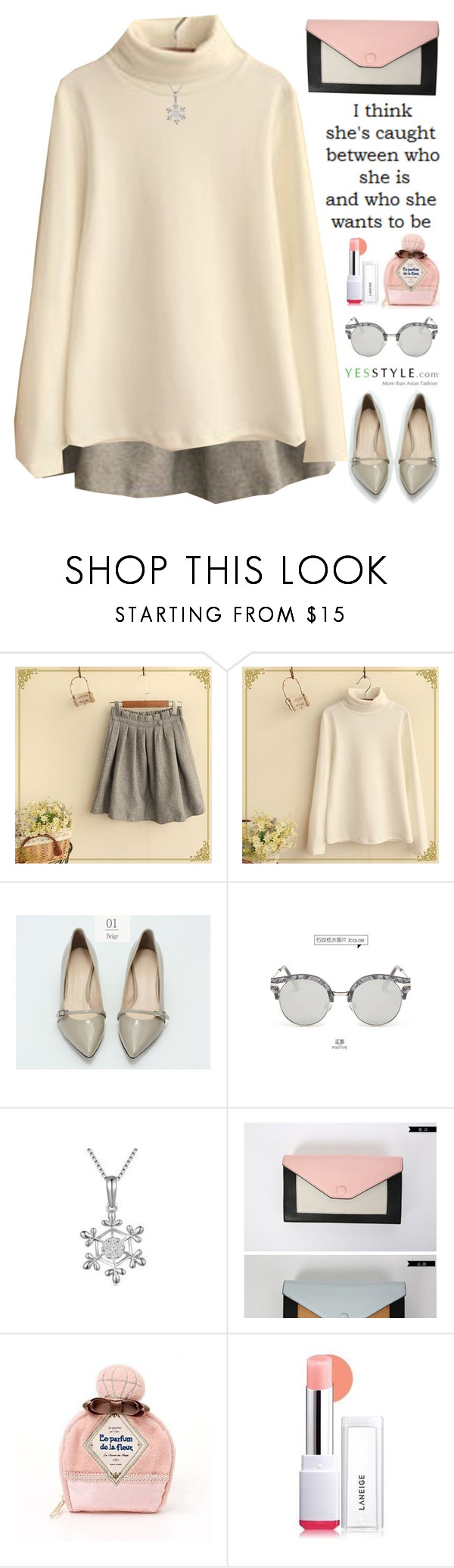 """""""YesStyle - Spring Fashion"""" by scarlett-morwenna ❤ liked on Polyvore featuring Fairyland, Modelsis, AORON, MaBelle, Morococo and Laneige"""