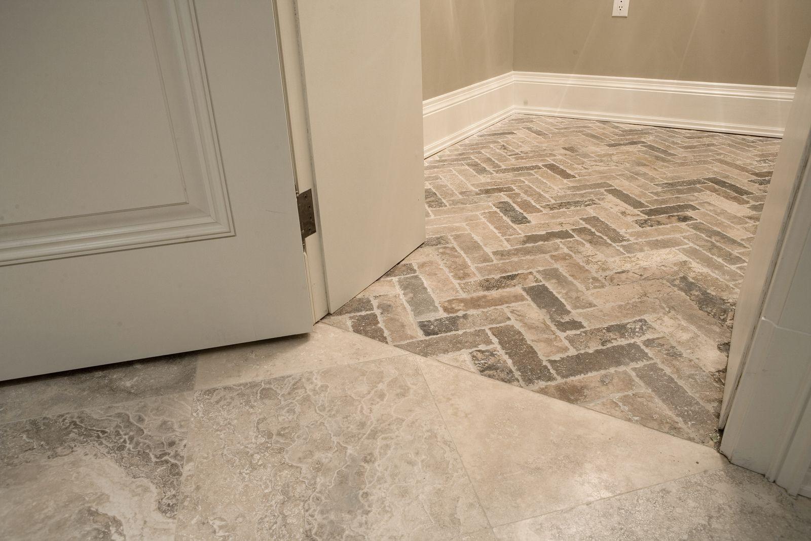 Herringbone pattern travertine floor Travertine floors