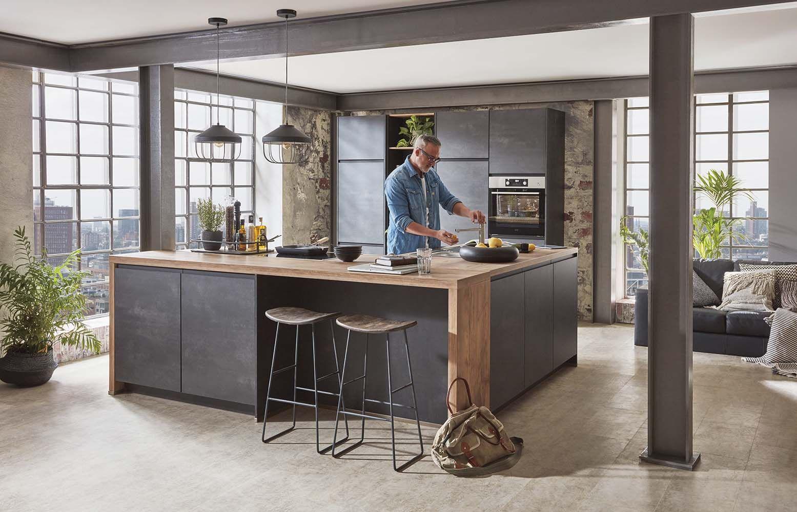 Küche im Industrie-Look#küche #interiordesign #beton #holz #thiex