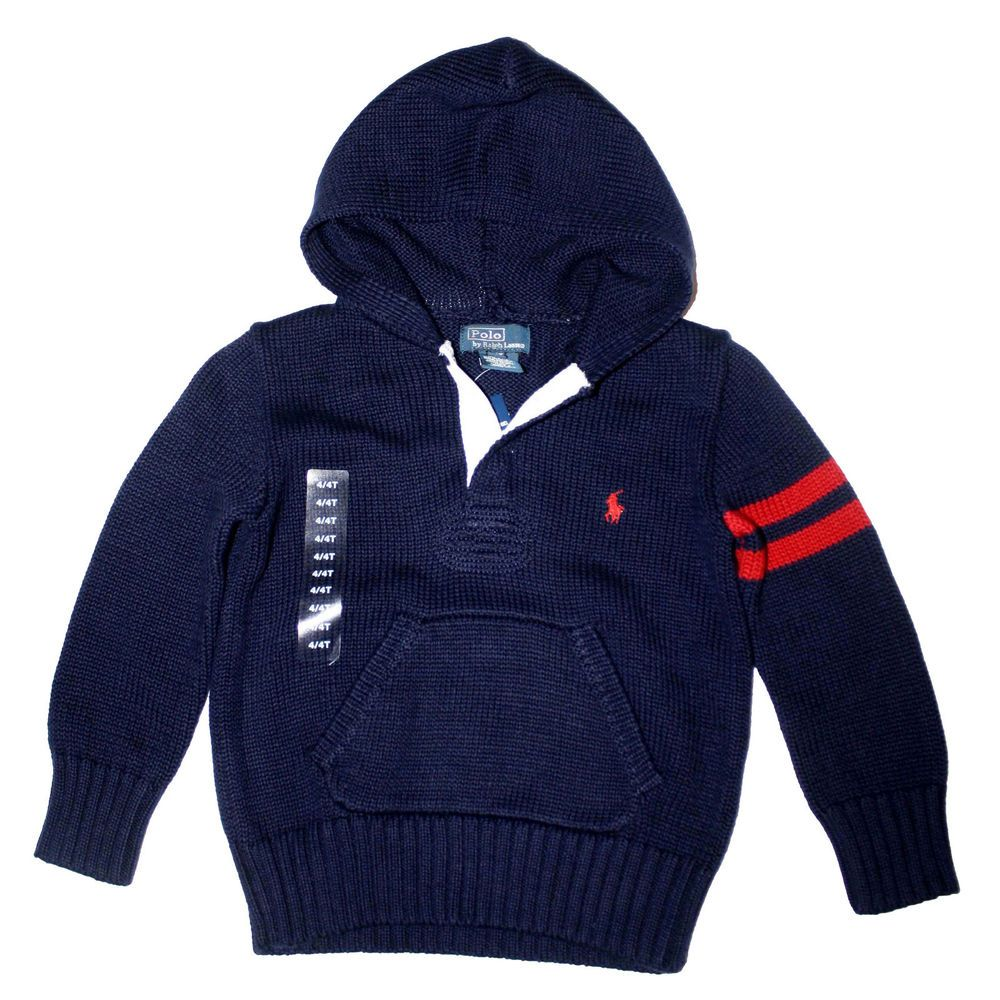 Ralph Lauren Boys Big Pony Polo Pullover Hoodie Sweater Blue Size 2T $69.50  NWT #RalphLauren
