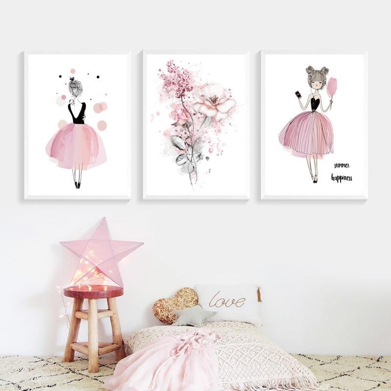 Tableau Aquarelle En Rose Pour Decorer Les Chambre Des Princesses