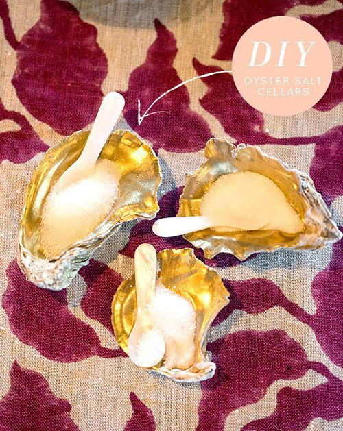 Gold Oyster Shell Salt Cellars | 11 DIY Projects Inspired By Your Day At The Beach