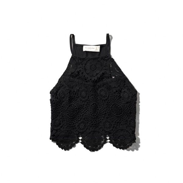 dc5656e25d77e3 Abercrombie   Fitch Lace High Neck Crop Tank ( 24) ❤ liked on Polyvore  featuring