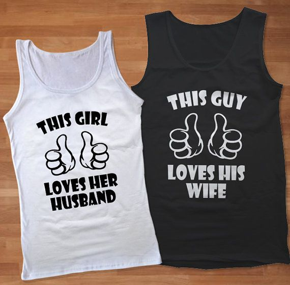 Love Matching Shirts New Couple Tee Tank Hubby And Wifey Couple Tank Top