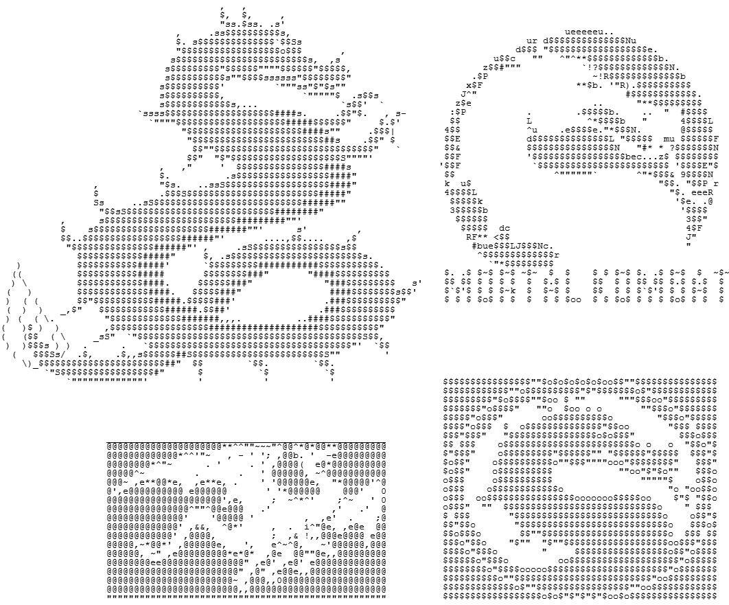 One Line Ascii Art Birthday : Cuatro dibujos de dragones en ascii refiriendo el juego