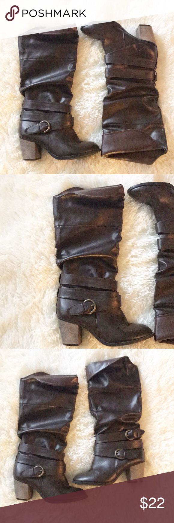 """bedbff49062 Leila Stone Boots Clarice Size 7.5 2 1 2"""" Heel Leila Stone Shoes Heeled  Boots"""