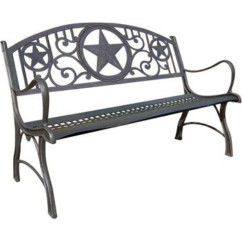 The Texas Star Cast Iron Patio Bench Features Three Picturesque
