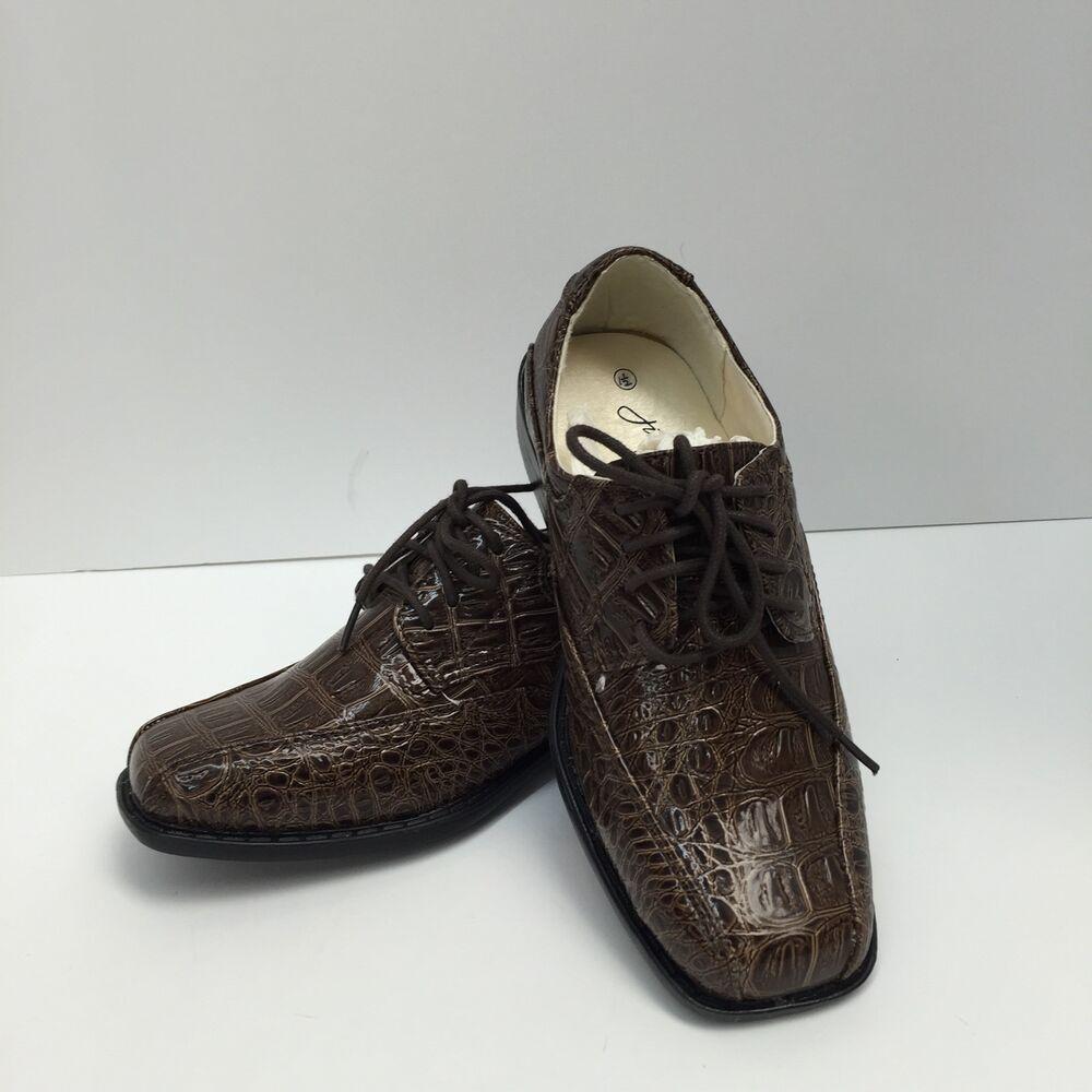 Boys brown dress shoes jim jaymz with laces design k1204