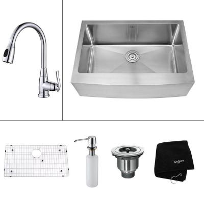 Kraus All In One Farmhouse Apron Front Stainless Steel 30 In Single Bowl Kitchen Sink With Faucet And Accessories In Chrome Silver Farmhouse Sink Kitchen Single Bowl Kitchen Sink Brass Kitchen Faucet