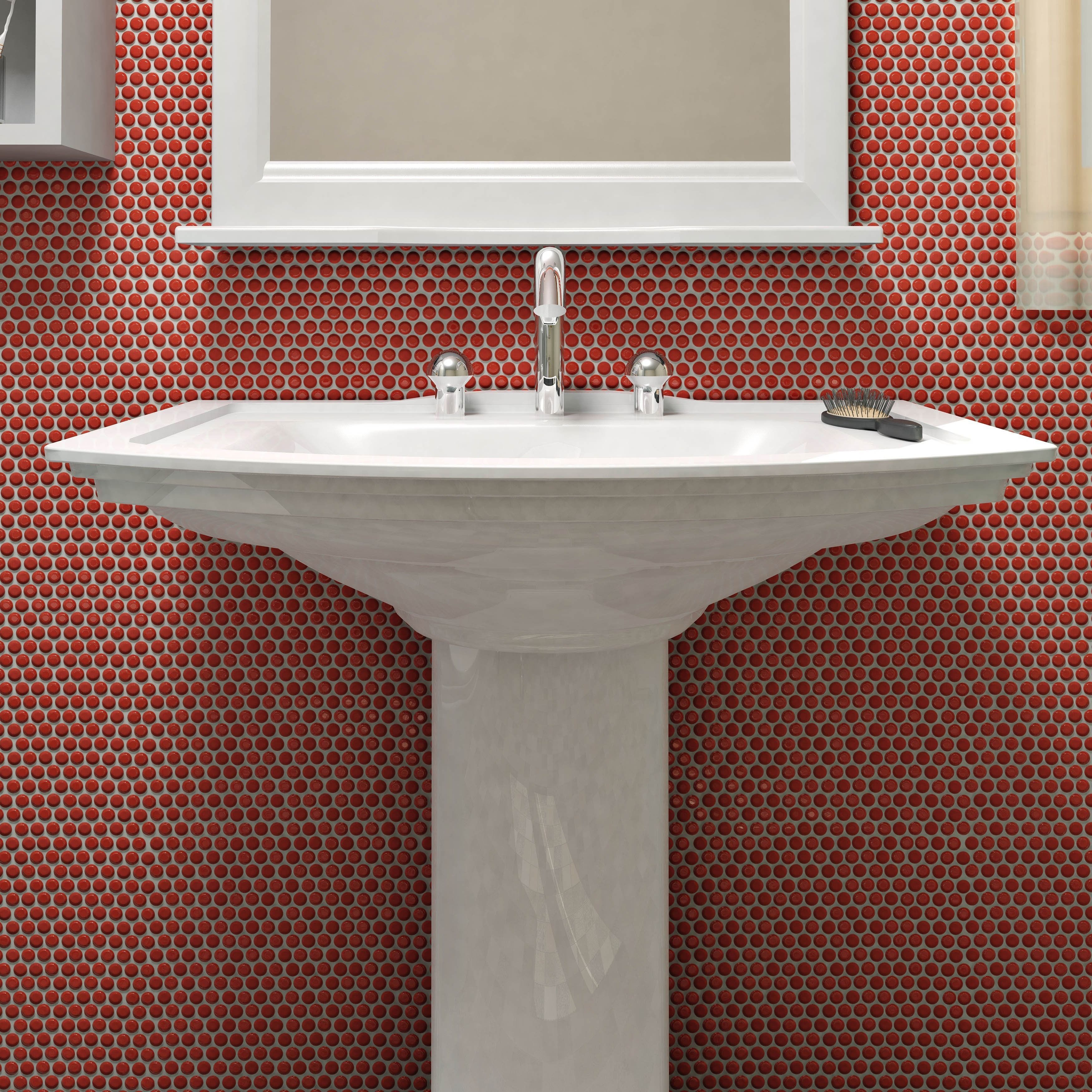 Somertile 1125 x 1175 inch andromeda penny round red porcelain somertile 1125 x 1175 inch andromeda penny round red porcelain mosaic wall tile pack of 10 by somertile dailygadgetfo Images