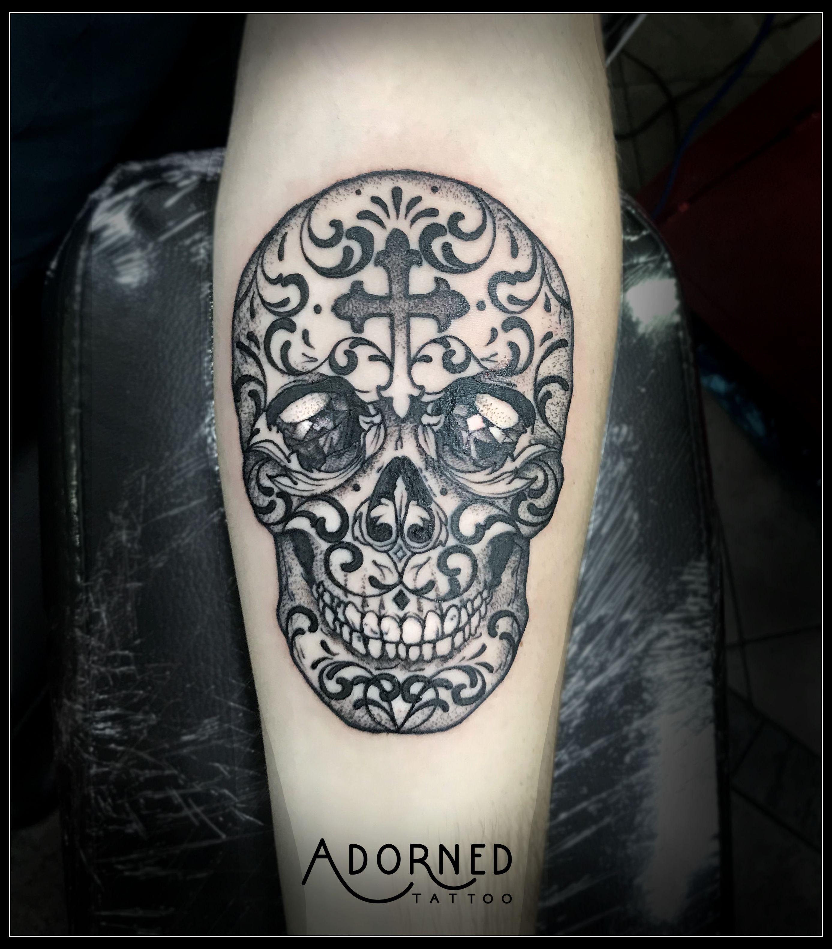 Black work sugar candy skull tattoo by jay tattoo
