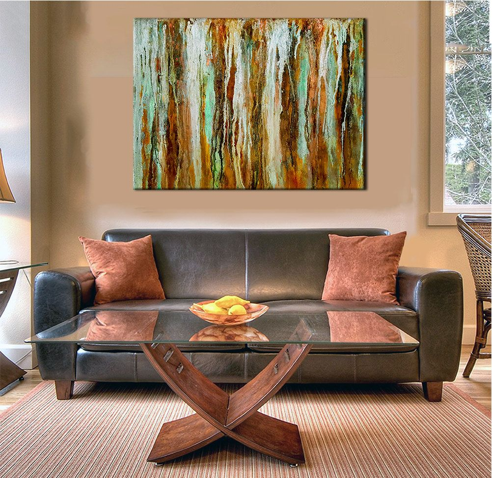 Rustic wall decor abstract painting extra large metal print