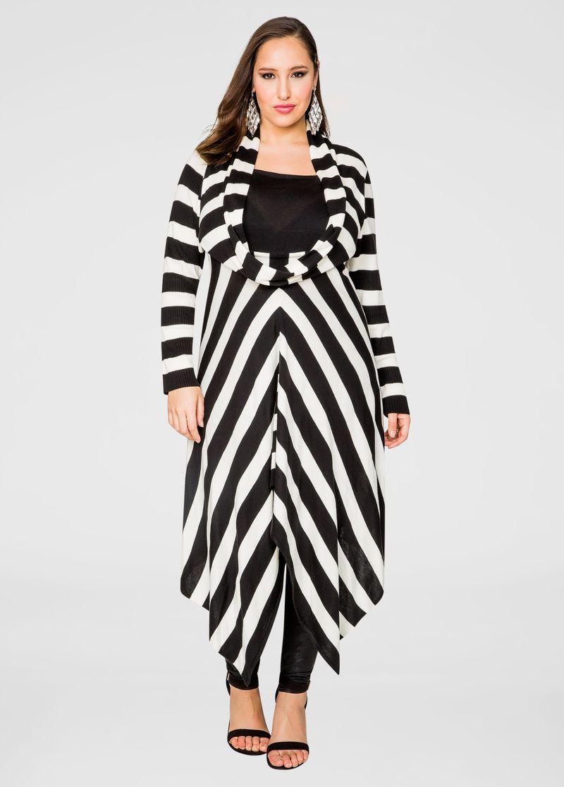 cf43e644cdbe Csíkos Túlméretezett toldat pulóver ruha Csíkos Túlméretezett toldat  pulóver ruha Ashley Stewart