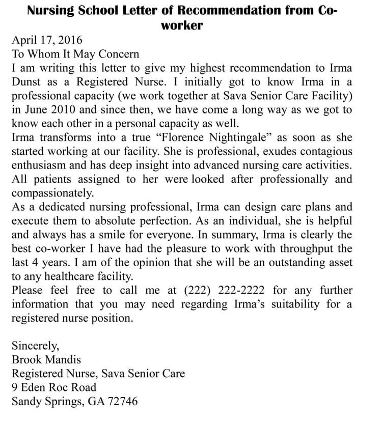 letter of for nurse coworker examples retail skills cv resume sample hospitality management simple word doc