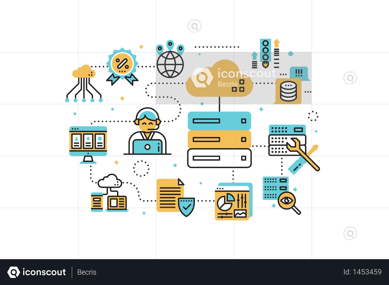 Premium Web Hosting Service Line Icons Illustration Illustration Download In Png Vector Format Icon Illustration Line Icon Web Hosting Services
