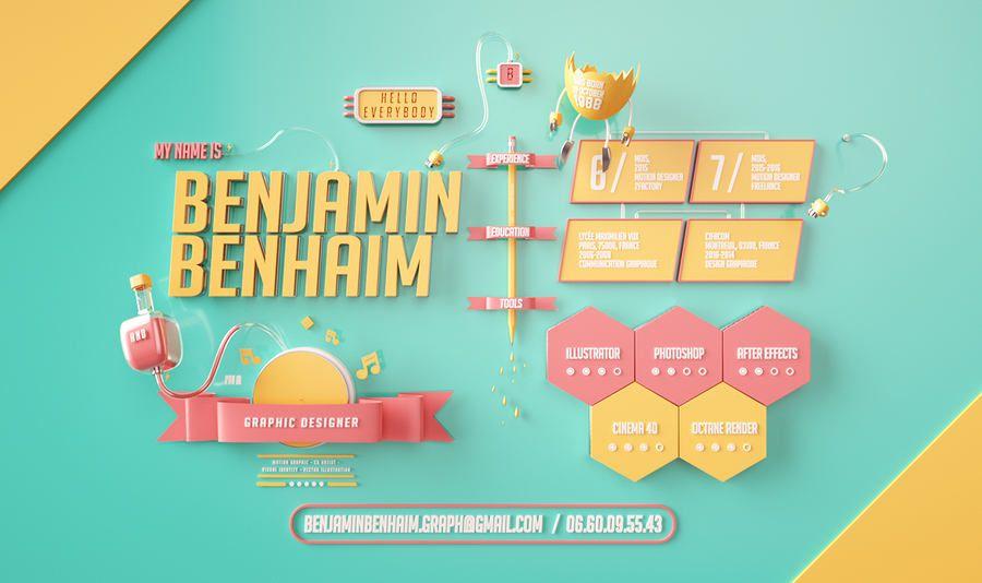 Ejemplo de un curriculum vitae en 3D que un diseñador gráfico se ...