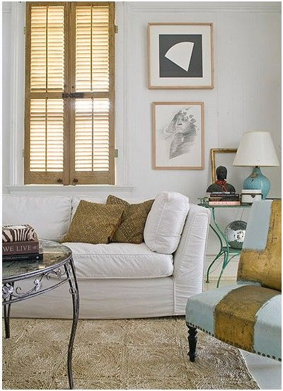 Shabby Chic Stained Traditional Interior Shutters With A Divider Rail.