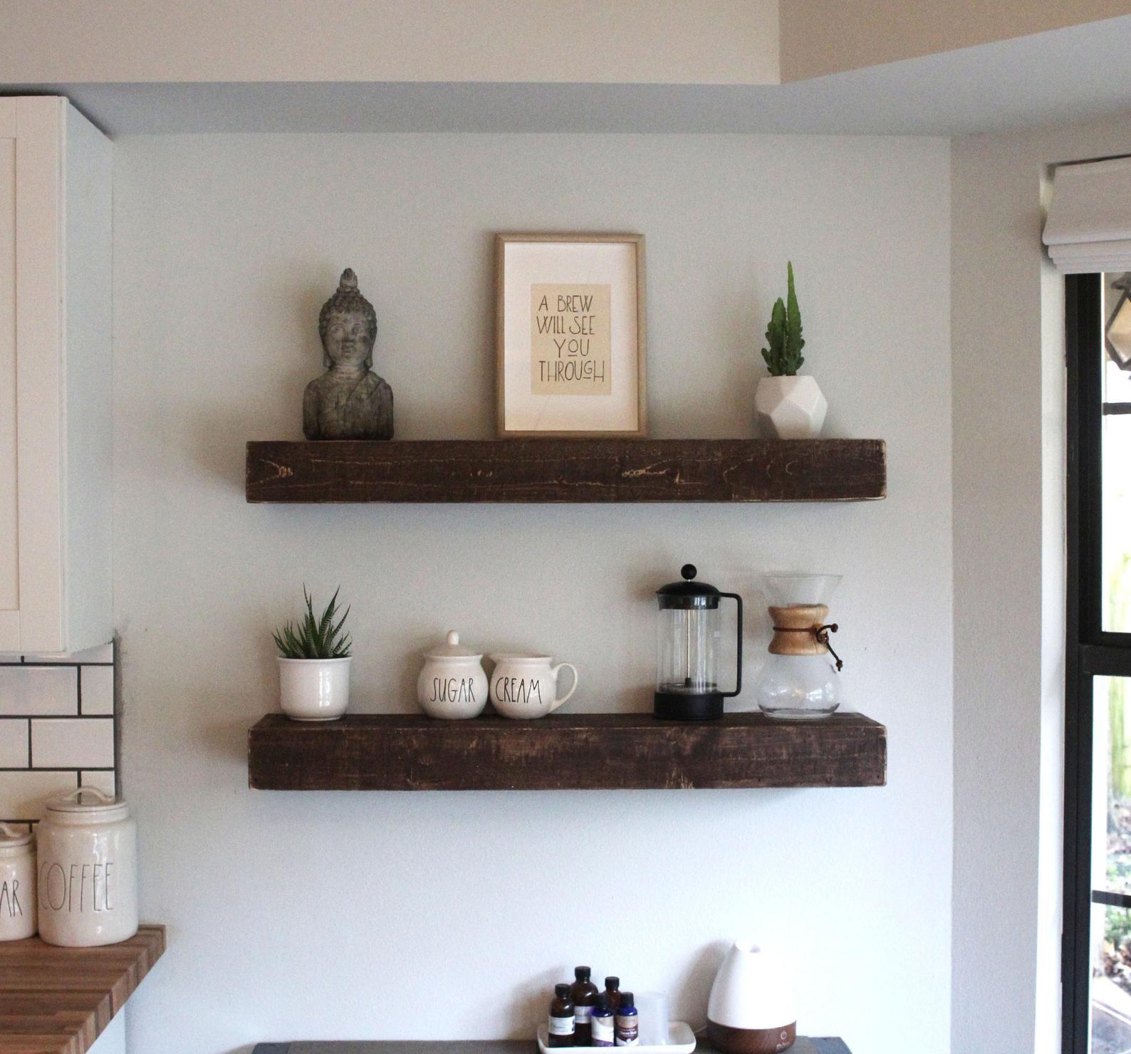 Fast Easy Mount Wood Floating Shelves Reclaimed Wood Shelf