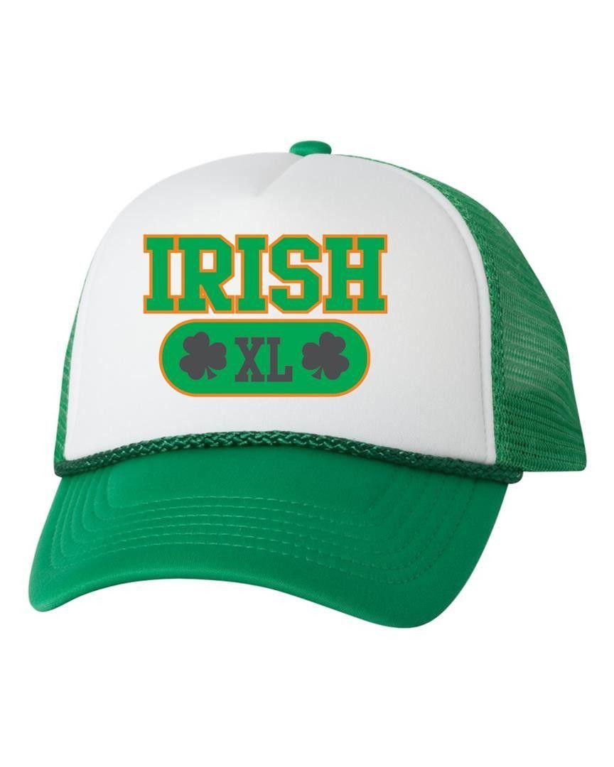 Irish XL shamrock dual color trucker hat  2ec90469667