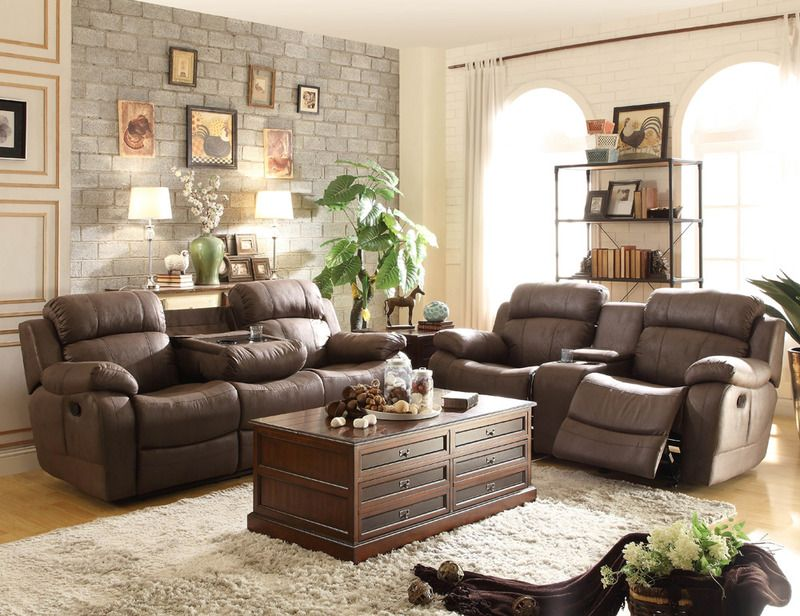 Brown Jacket Microfiber Reclining Sofa Loveseat Drop Down Console