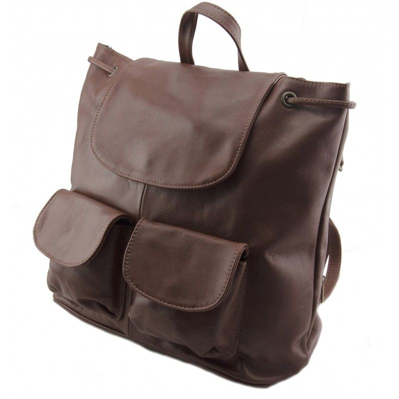 Genuine Leather Shoulderbag Backpack Made In Italy Cindy Brown Sky