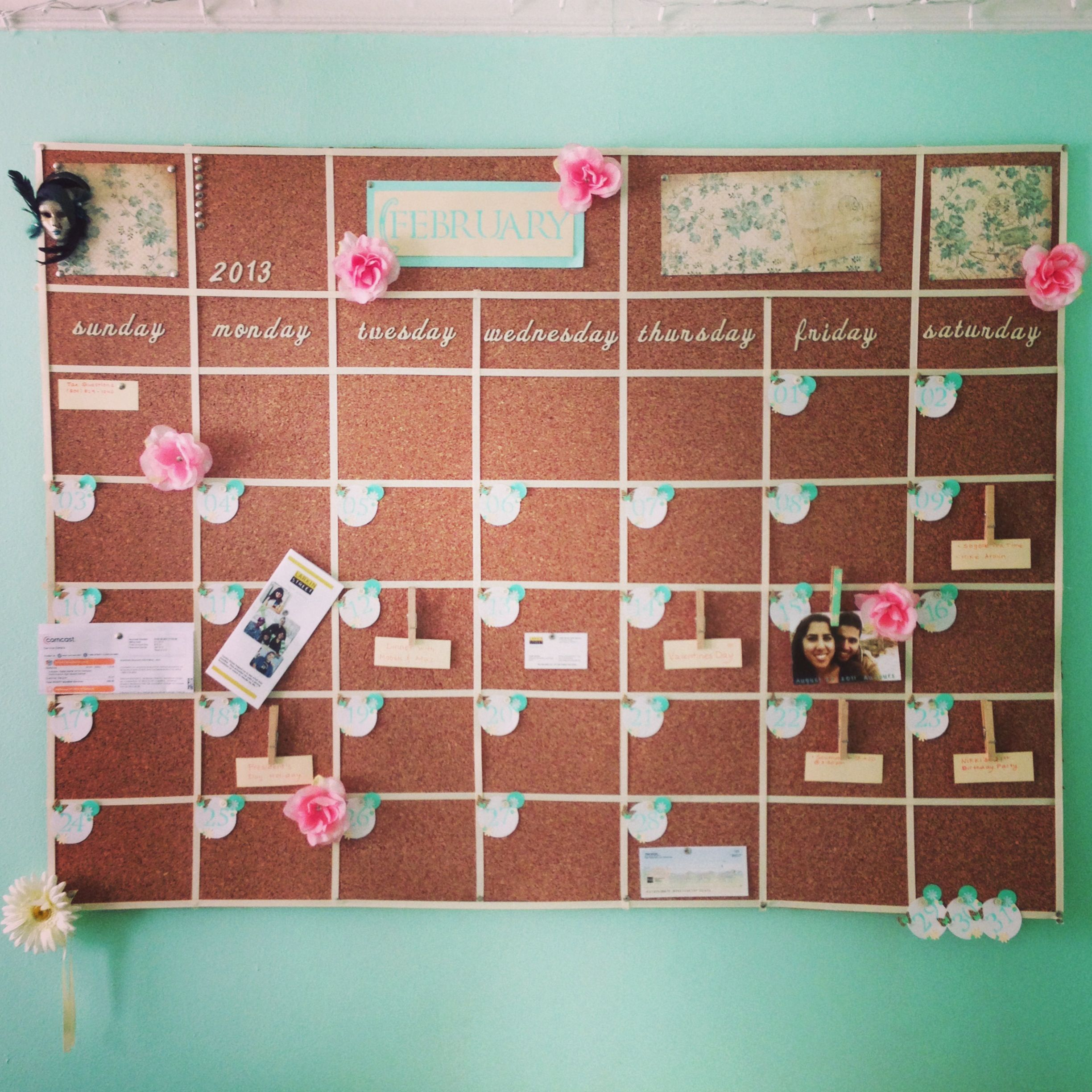 Cork Board Wall Calendar Pin Your Bills Tickets And More