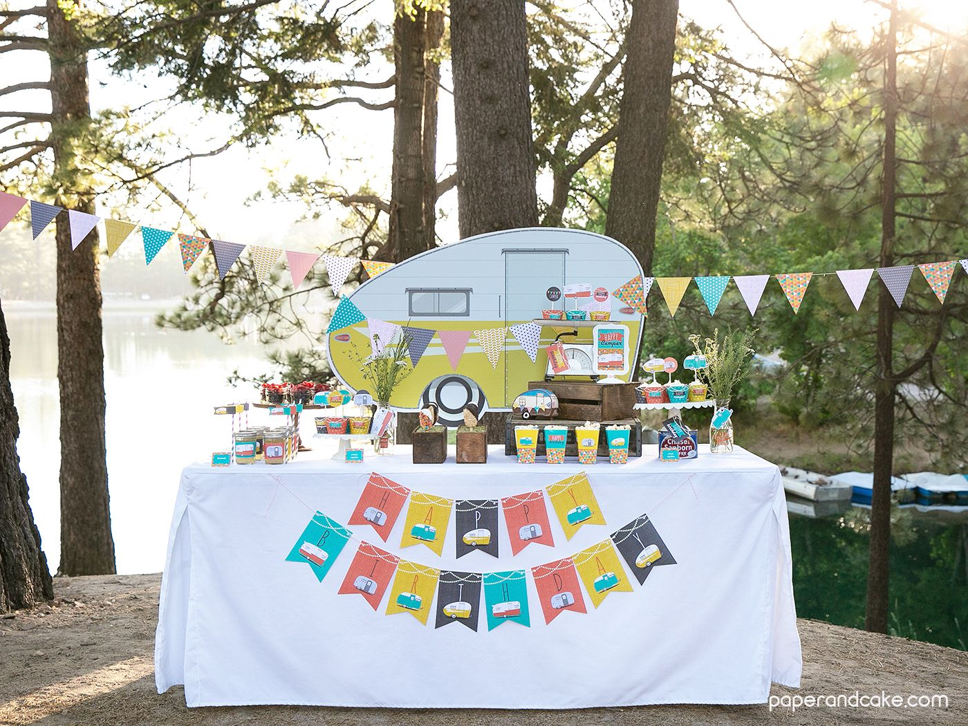 Happy Camper Party Decorations in 2020   Outdoors birthday ...