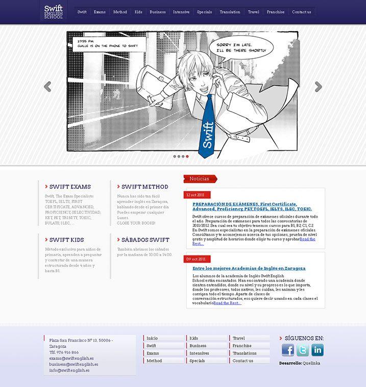SWIFT ENGLISH SCHOOL. Diseño web con ilustraciones en estilo manga y ...