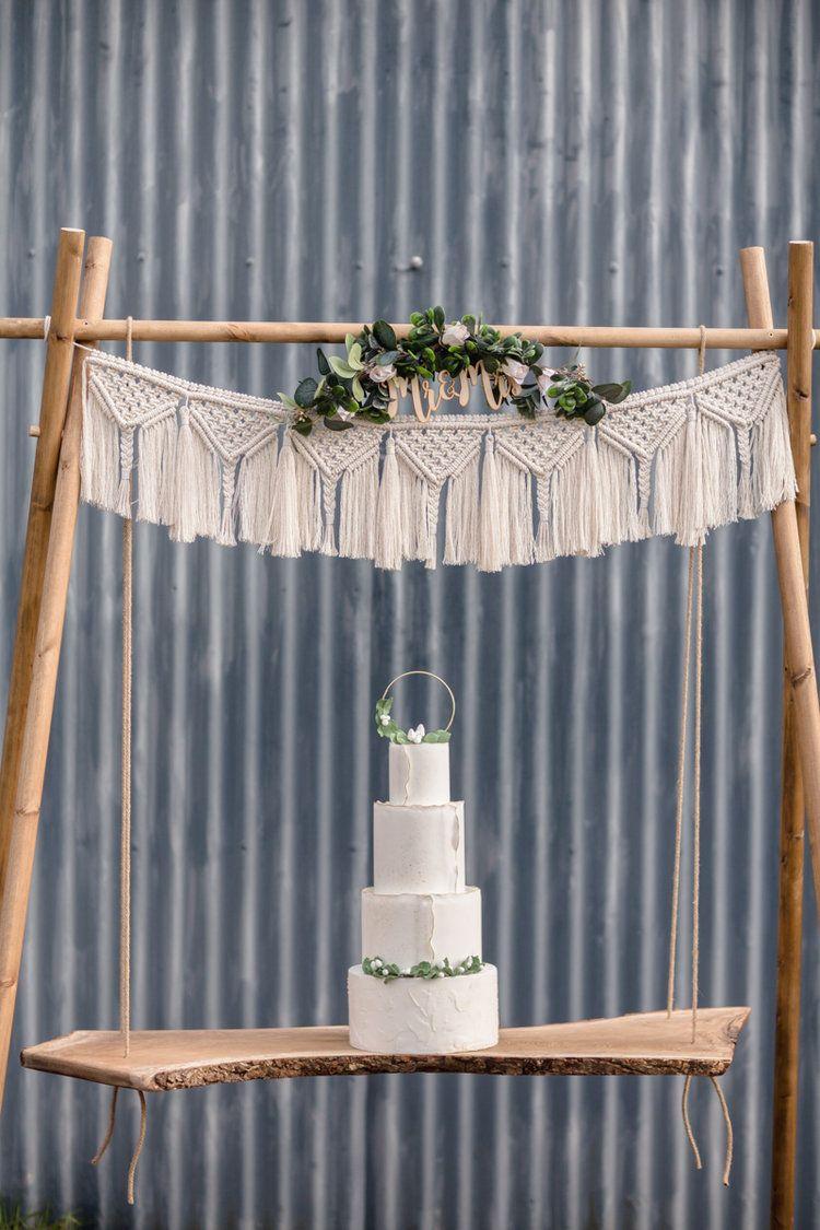 Macramé cake swing hire Eco friendly wedding favors