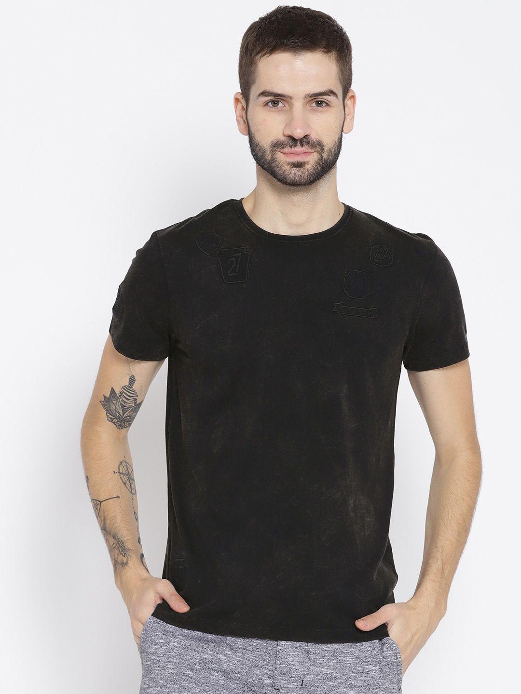 a9822e49 Being Human Men Black Solid Round Neck T-shirt -   1349   Men's ...