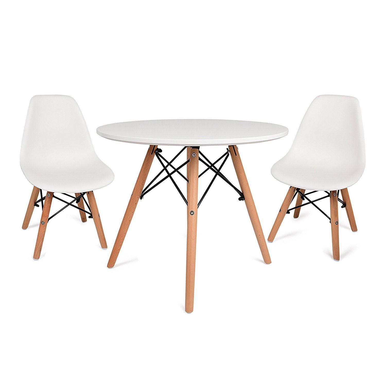 Amazoncom Urbanmod Eames Style Kids Modern White Table Set, Round
