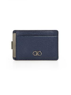 low priced 800f9 1d87c SALVATORE FERRAGAMO Pebbled Leather Money Clip Card Case ...
