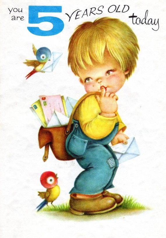 Chubby Cheeks Birthday Card For Five 5 Year Old Child Vintage 1960s Mailman