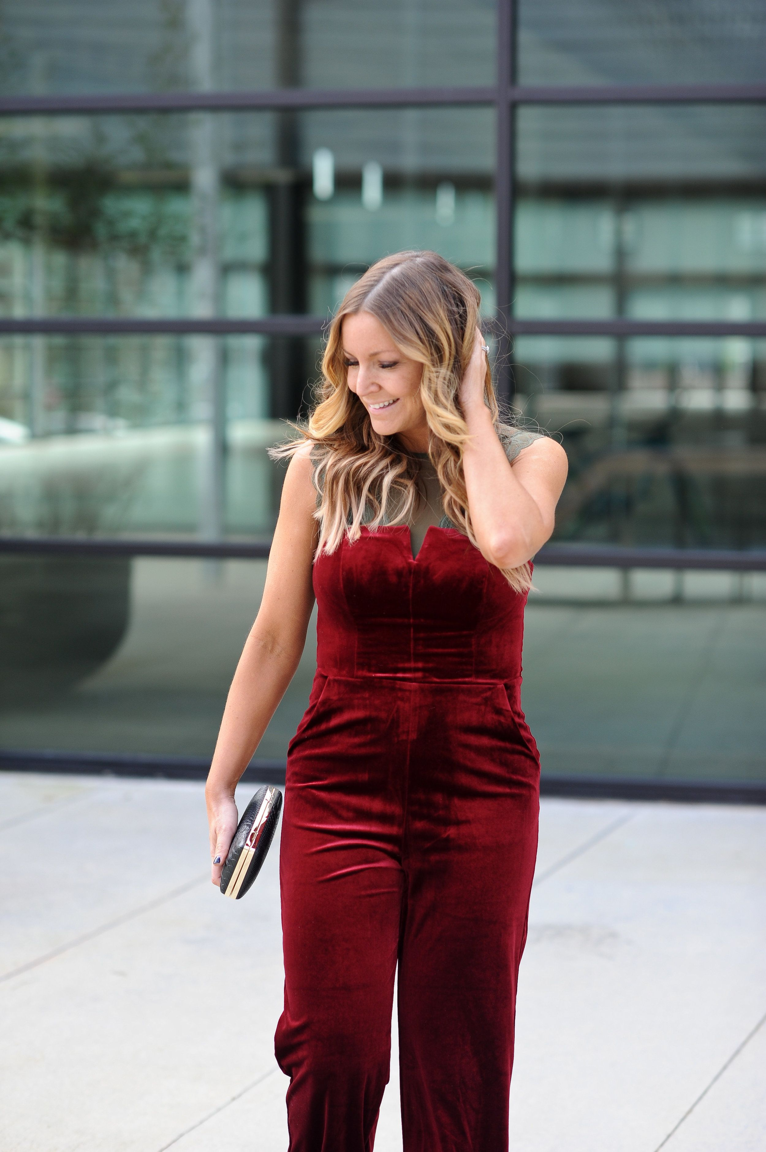 971fba92463 How to layer a jumpsuit with a lace bodysuit. JCPenney red velvet jumpsuit    lace bodysuit