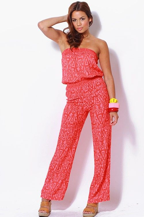 Strapless jumpsuits = comfort and easy to throw on.
