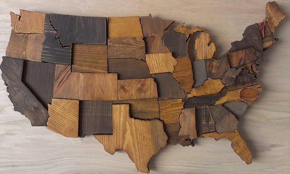 Contiguous USA map wall art wooden state art United States map ...
