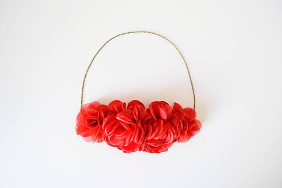 Headband Flowers Red Rustic Wedding Red Hair Headband Flowers