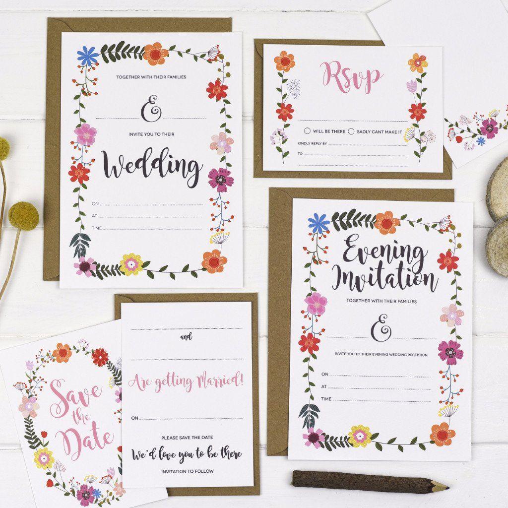 Floral Border Write Your Own Wedding Invitation   June: Wedding ...