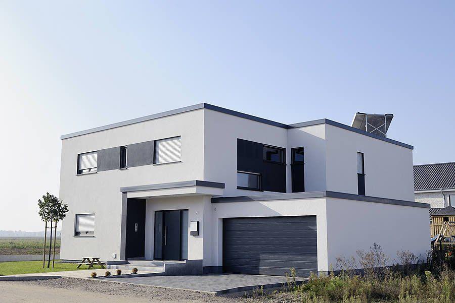 maison #moderne à toit plat ! #gris #blanc #contemporain #design ...