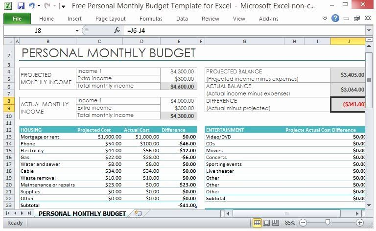 Monthly Budget Template Excel Lovely Free Personal Monthly Bud Template For Excel Personal Budget Template Budget Worksheets Excel Budget Template Printable