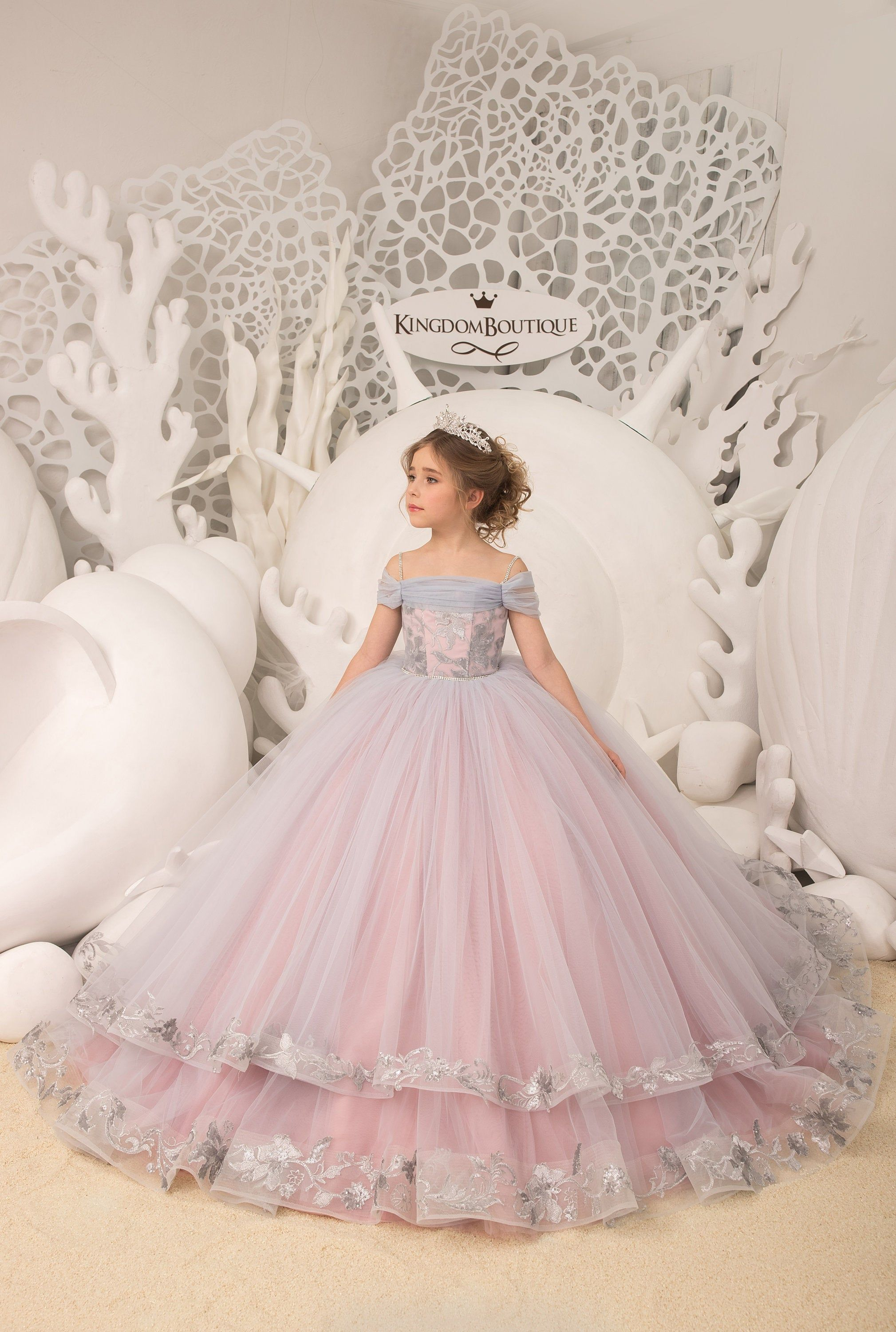 Silver flower girl dress Wedding holiday Birthday party Bridesmaids silver a cappuccino flower girl dress toddler Flower girl dress ivory