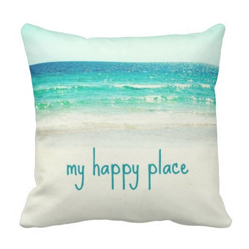 the beach is my happy place ocean beach photo pillow with saying