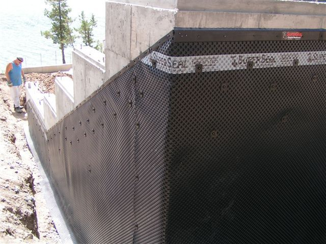 Superseal 39 S Dimpled Membrane Installed On A Slope Superseal 39 S Foundation Dimpled Membrane